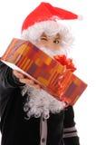 Adolescente en un sombrero santa Imágenes de archivo libres de regalías