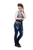 Adolescente en un vestido azul del dril de algodón Fotografía de archivo