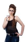 Adolescente en un vestido azul del dril de algodón Imagen de archivo libre de regalías