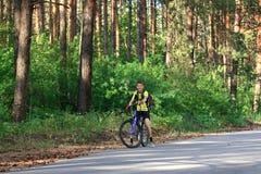Adolescente en una bicicleta que viaja en el bosque Imágenes de archivo libres de regalías