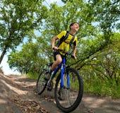Adolescente en una bicicleta que viaja en las maderas Foto de archivo libre de regalías