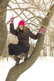 Adolescente en una ramificación Foto de archivo libre de regalías