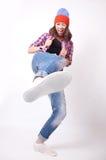 Adolescente en vaqueros rasgados Fotografía de archivo libre de regalías