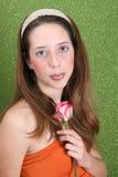 Adolescente en verde Imagenes de archivo