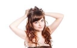 Adolescente en vestido marrón Aislado sobre el fondo blanco Imagenes de archivo