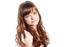 Adolescente en vestido marrón Aislado sobre el fondo blanco Imágenes de archivo libres de regalías