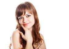 Adolescente en vestido marrón Aislado sobre el fondo blanco Imagen de archivo libre de regalías