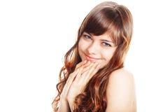 Adolescente en vestido marrón Aislado sobre el fondo blanco Foto de archivo libre de regalías