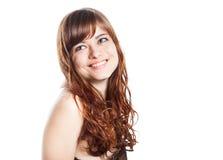 Adolescente en vestido marrón Aislado sobre el fondo blanco Foto de archivo