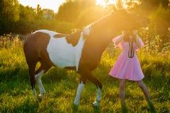 Adolescente en vestido rosado que camina con un caballo en la puesta del sol Fotos de archivo