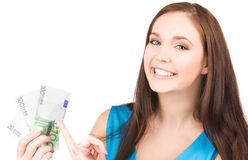 Adolescente encantador con el dinero Foto de archivo libre de regalías