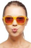 Adolescente engraçado nas máscaras Fotografia de Stock Royalty Free