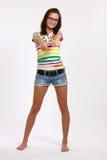 Adolescente felice con i pollici in su Immagini Stock