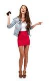 Adolescente felice con il trasduttore auricolare isolato su bianco fotografia stock libera da diritti