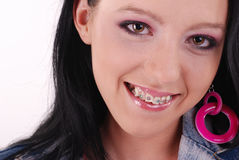 Adolescente feliz com cintas Imagens de Stock