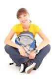 Adolescente feliz com mochila Fotografia de Stock Royalty Free