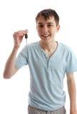 Adolescente feliz con clave del coche Imágenes de archivo libres de regalías