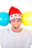 Adolescente feliz con dos globos Imagenes de archivo