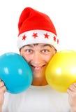 Adolescente feliz con dos globos Fotos de archivo