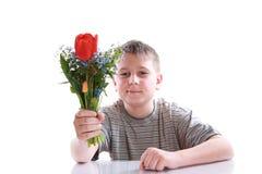 Adolescente feliz con el ramo de flores Fotografía de archivo