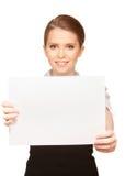 Adolescente feliz con el tablero en blanco Fotos de archivo libres de regalías