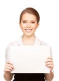 Adolescente feliz con el tablero en blanco Imagenes de archivo