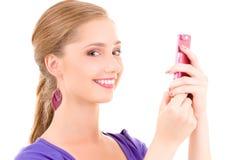 Adolescente feliz con el teléfono celular Foto de archivo