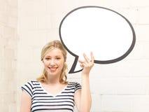Adolescente feliz con la burbuja en blanco del texto Foto de archivo