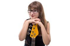 Adolescente feliz con la guitarra Imagenes de archivo