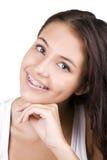 Adolescente feliz con las paréntesis Fotografía de archivo libre de regalías