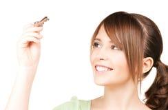 Adolescente feliz con llaves Imágenes de archivo libres de regalías