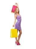Adolescente feliz con los panieres Foto de archivo libre de regalías