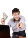 Adolescente feliz con un dinero Foto de archivo