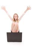 Adolescente feliz del estudiante con el ordenador portátil Imagen de archivo libre de regalías