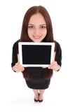 Adolescente feliz del estudiante con PC de la tableta Fotos de archivo libres de regalías