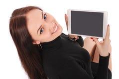 Adolescente feliz del estudiante con PC de la tableta Fotografía de archivo