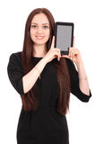 Adolescente feliz del estudiante con PC de la tableta Imagen de archivo