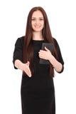 Adolescente feliz del estudiante con PC de la tableta Foto de archivo libre de regalías