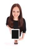 Adolescente feliz del estudiante con PC de la tableta Foto de archivo