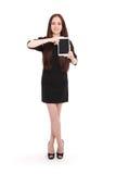 Adolescente feliz del estudiante con PC de la tableta Imagen de archivo libre de regalías