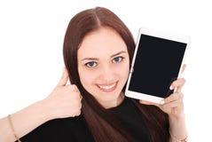 Adolescente feliz del estudiante con PC de la tableta El sentarse de lado y Fotos de archivo
