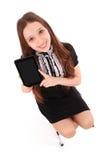 Adolescente feliz del estudiante que se sienta en la escalera con PC de la tableta Foto de archivo