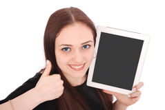 Adolescente feliz do estudante com PC da tabuleta Assento lateralmente e foto de stock