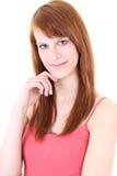 Adolescente feliz en camiseta rosada Fotos de archivo