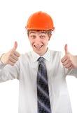 Adolescente feliz en casco Imagen de archivo libre de regalías