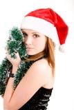 Adolescente feliz en el sombrero de Santa Fotos de archivo libres de regalías