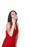 Adolescente feliz en el teléfono celular Imágenes de archivo libres de regalías