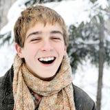 Adolescente feliz en invierno Imágenes de archivo libres de regalías