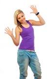 Adolescente feliz hermoso con las manos en el aire Fotografía de archivo