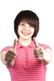 Adolescente feliz joven que muestra OK Fotos de archivo